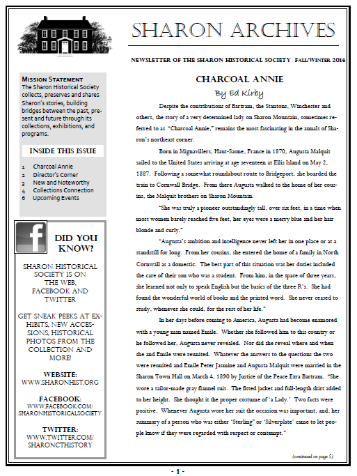 Take a look at this example of an older SHS Newsletter